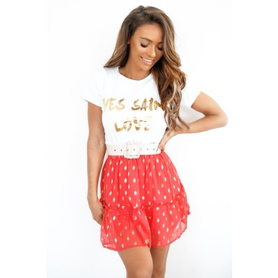 Jaimy GOLD DOTS SKIRT CORAL RED
