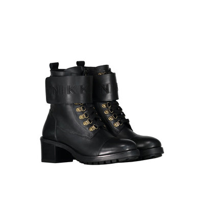 NIKKIE Copy of Branded strap boots black silver