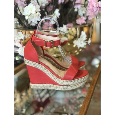 Jaimy Say hey ibiza wedges coral red