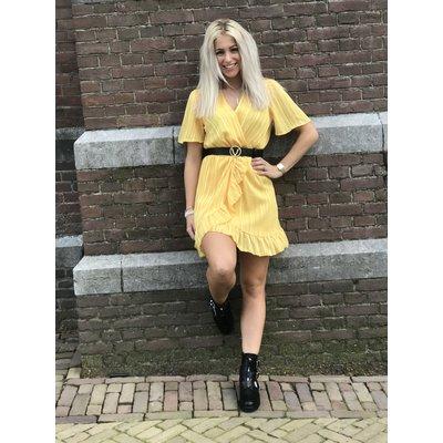 Jaimy Ruffle Lurex dress OKER GEEL