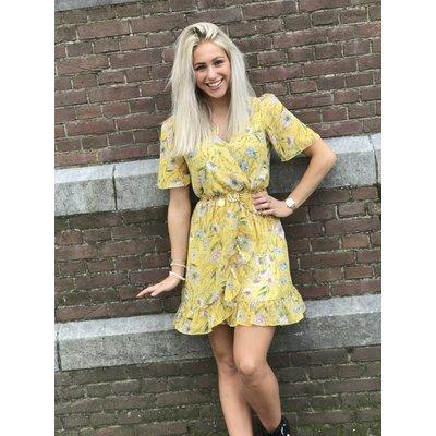 Jaimy Ruffle lurex dress FLOWER YELLOW