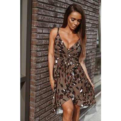 Jaimy Leopard for you dress army green