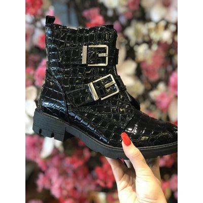 Jaimy Shine croco boots black