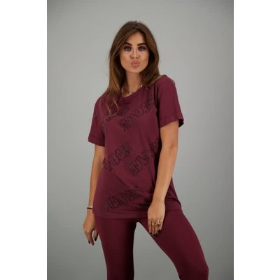 Reinders T-shirt ALL OVER BURGUNDY/BLACK