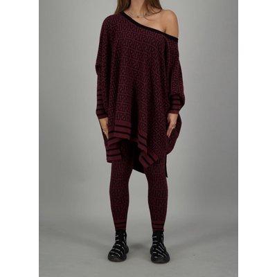Reinders Loesje knitwear RR print burgundy