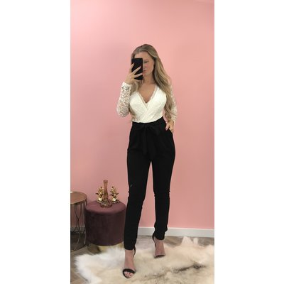 Jaimy LIMITED lace 2 ways to wear jumpsuit BLACK WHITE