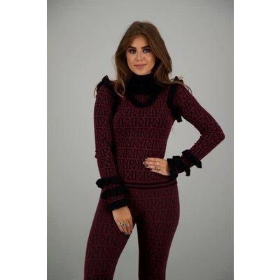 Reinders Marie Ruffle top RR print burgundy