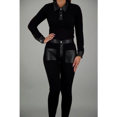 Reinders Leather pants pocket black