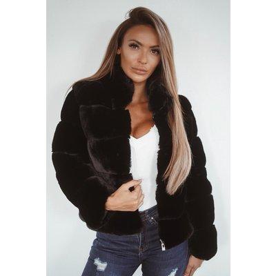 Jaimy Celebrate life fluffy jacket BLACK