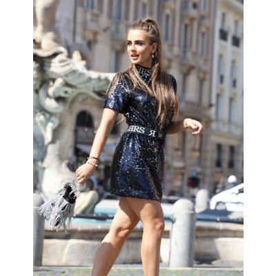 Reinders Turtleneck dress sequin black