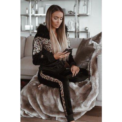Jaimy Velvet leopard pak black