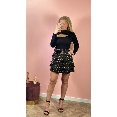 Jaimy Golden dots ruffle skirt