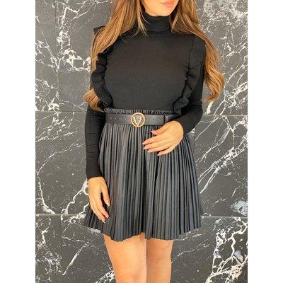 Jaimy Leather look plisse skirt