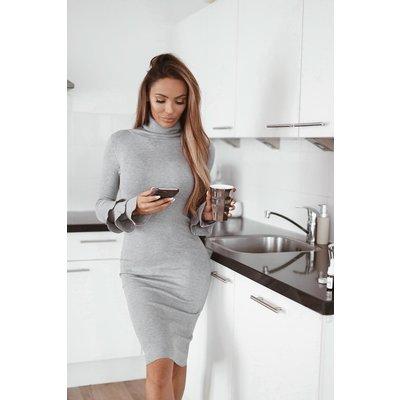 Jaimy Ruffle col dress grey