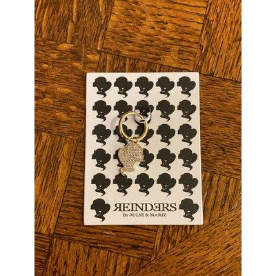 REINDERS One piece headlogo earrings diamonds gold