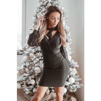 JAIMY Sequin bow dress black