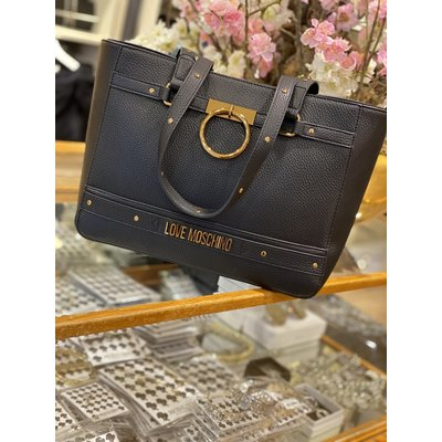 LOVE MOSCHINO The golden ring bag big black