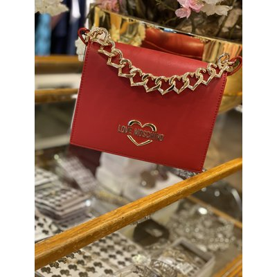 LOVE MOSCHINO Chain heart bag red