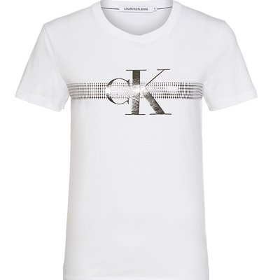 CALVIN KLEIN Metallic mesh ck slim tee bright white
