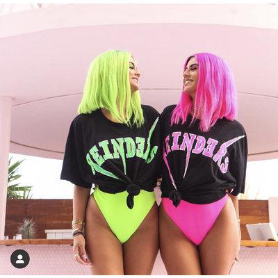 REINDERS Bolt oversized t-shirt black neon pink