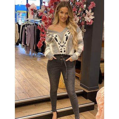JAIMY Loesje knitwear leopard grey