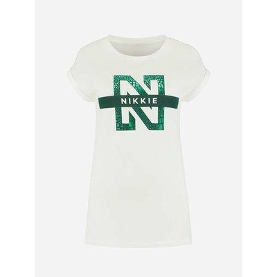 NIKKIE N logo snake t shirt
