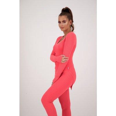 REINDERS Twin set pants lurex neon pink