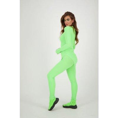 REINDERS Twin set pants lurex neon green