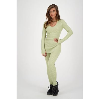 REINDERS Twin set pants lurex sage green