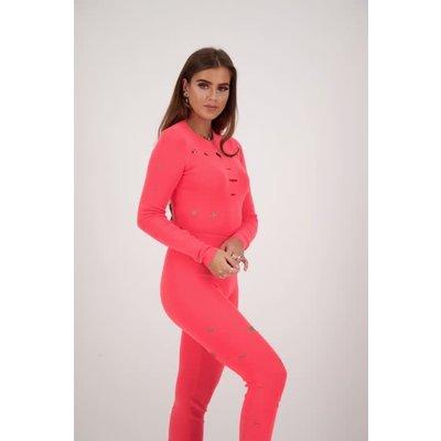 REINDERS Sweater crop top destroyed pink neon