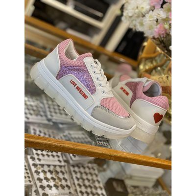 LOVE MOSCHINO Sneakers tassel 50 white pink sequin