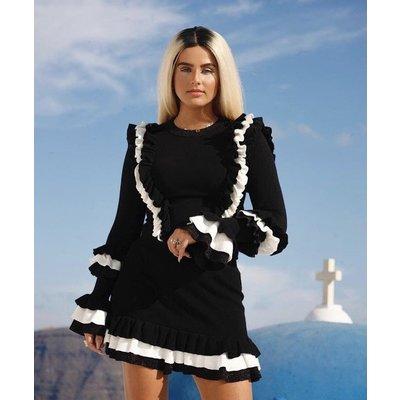REINDERS Valerie ruffle skirt lurex black