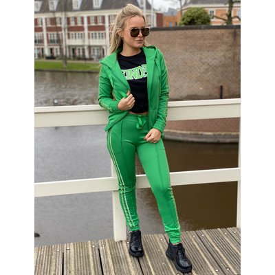 JAIMY Sparkle stripe tracking suit green
