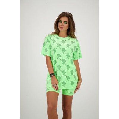 REINDERS T shirt velvet logomania neon green