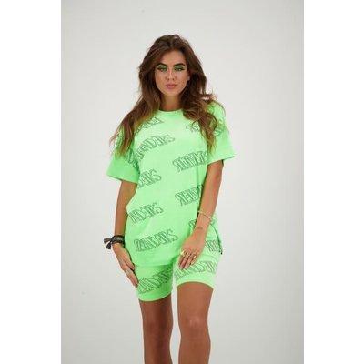 REINDERS T shirt velvet Reinde all over neon green