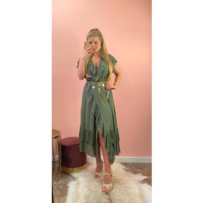 JAIMY Dress ruffle Olivier army green