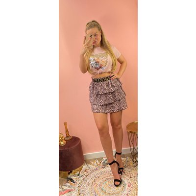 JAIMY Skirt rouche leopard pink