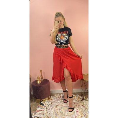 JAIMY Olcay ruffle skirt red