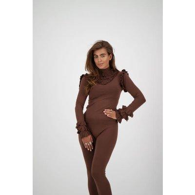 REINDERS Marie ruffle top dark brown