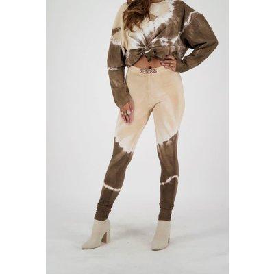 REINDERS Pants legging tie dye darkbrown/crème