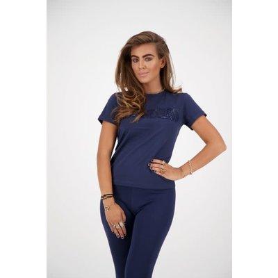 REINDERS T shirt slim fit diamonds wording dark blue