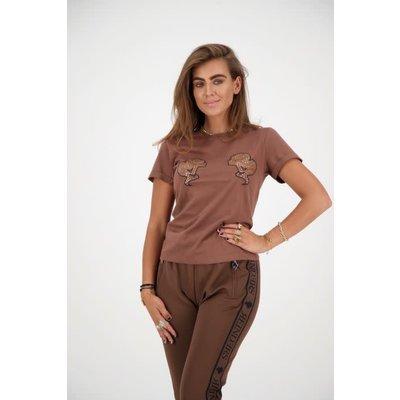 REINDERS T shirt slim fit diamond headlogos dark brown