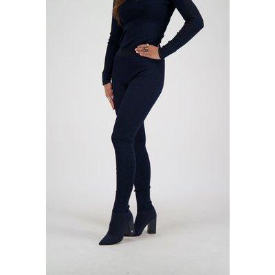 REINDERS Pants LUREX tight fit entarsia dark blue