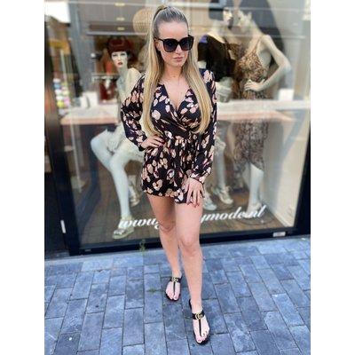JAIMY Lola leopard jumpsuit ~ long sleeve BLACK