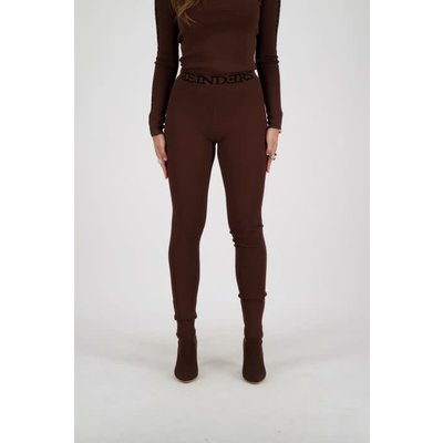 REINDERS Pants Tight fit entarsia dark brown