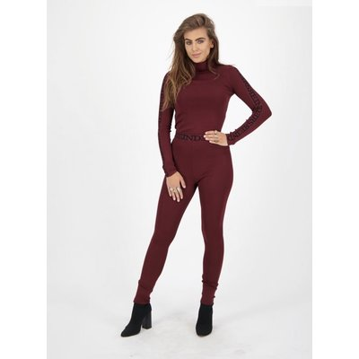 REINDERS Pants Tight fit entarsia burgundy