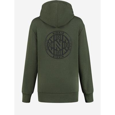 NIKKIE Round back logo hoodie night forest