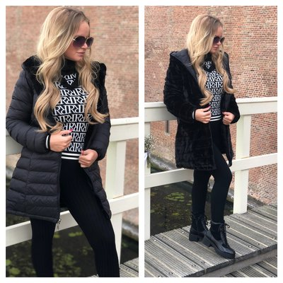 JAIMY OH MY FLUFFY 2WAYSTOWEAR jacket BLACK