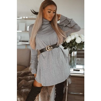 JAIMY Bente ruffle  sweaterdress grey