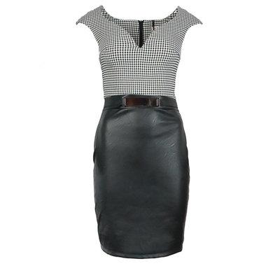 JAIMY Pied de poule dress leather look